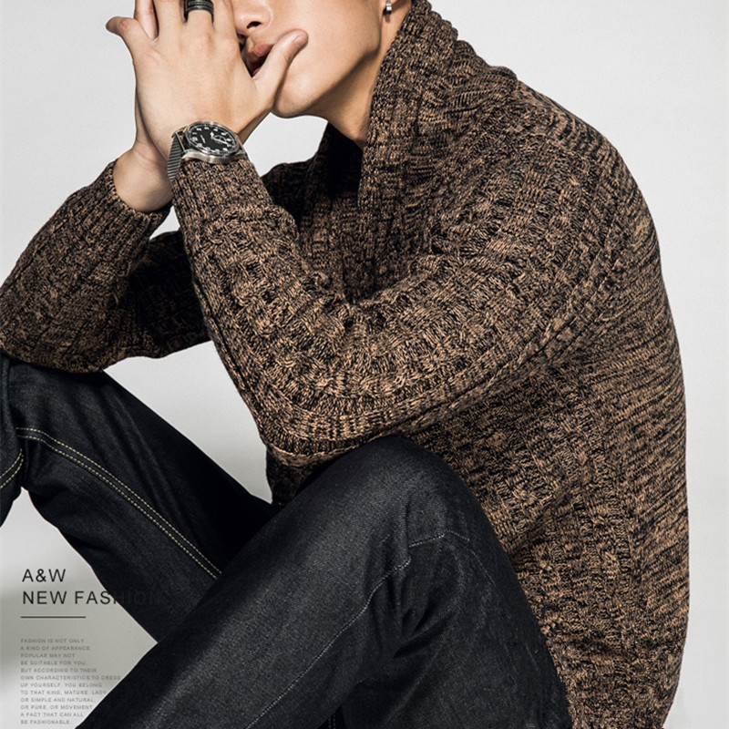 Autumn And Winter New Men's Sweater Fashion Lapel Cardigan Sweater Coat Young Man Long Sleeve Knitted Sweater