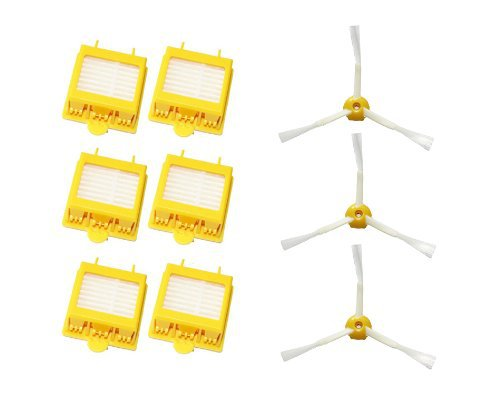 6 Hepa Filters + 3 x 3-Armed Side Brush Accessory Kit For iRobot Roomba 700 Series 760 770 780 bristle brush flexible beater brush fit for irobot roomba 500 600 700 series 550 650 660 760 770 780 790 vacuum cleaner parts