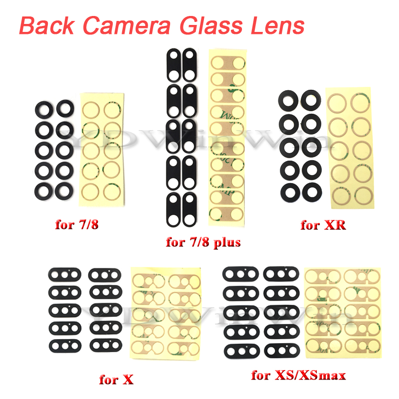 10 pcs Rear Back Camera Lens For iPhone 7 8 Plus X XS max XR 11 Pro Glass Cover with 3M Sticker Adhesive Replacement Parts(China)