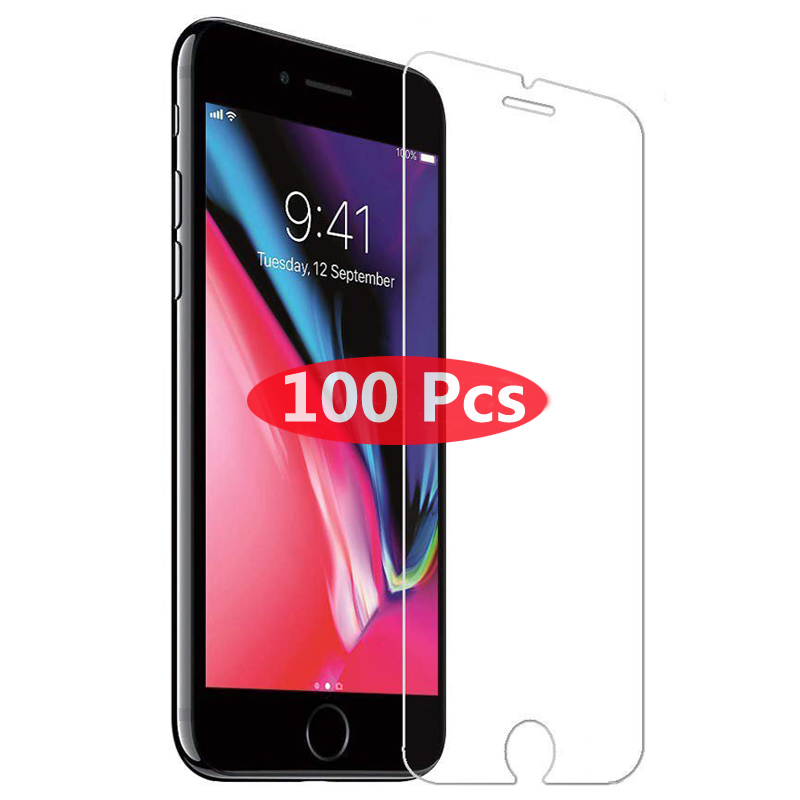 100Pcs Tempered Glass on the For iPhone X XS Max XR Tempered Glass For iPhone 7 8 6 6s Plus 5 5S SE Screen Protector Film Case