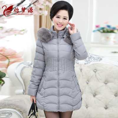 New 2016 Winter Padded Thick Jacket Women Fur Collar Hooded Down Cotton Coat Long Slim Parkas Mother Coat Plus Size A4248 qazxsw 2017 new winter cotton coat women slim hooded jacket two sides wear long parkas fur collar winter padded abrigos hb339