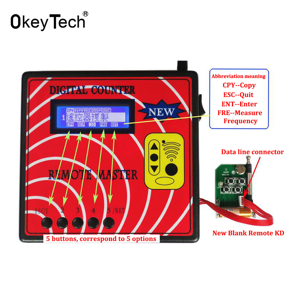 OkeyTech Wireless Digital Counter Regenerate RF Remote Control Copy Master Machine Key Programmer Frequency Tester Fixed SK-668 dc7 5v 10v remote control wireless frequency meter counter for car auto key remote control detector cymometer power supply cable
