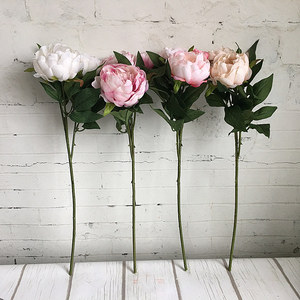 Image 2 - New Year Artificial Silk+Plastic Peony Flower branch with leaves flores peonies for indoor Home decor diy wedding decorations