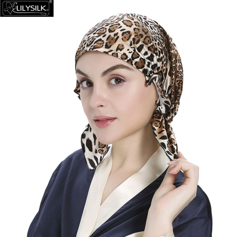 Lilysilk Skullies & Beanie Silk Pure Sleep Cap Turban Women 19 Momme Sexy Leopard Pattern Elastic Band Hair Care Night skullies