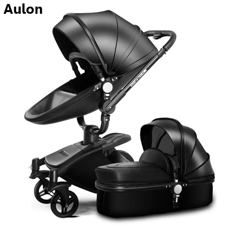 Luxuoso do bebê carrinho de bebê carrinho de criança de couro frete grátis 2 Aulon em 1 moda carrinho de criança carrinho de criança Europeu para mentir e assento bra
