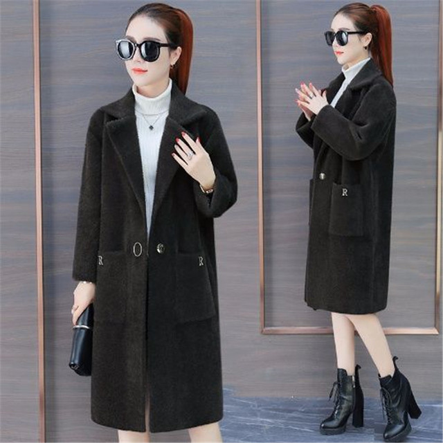2019 Women mink fur long coat full sleeve turn-down collar pocket thick warm autumn winter single button loose knitted casual