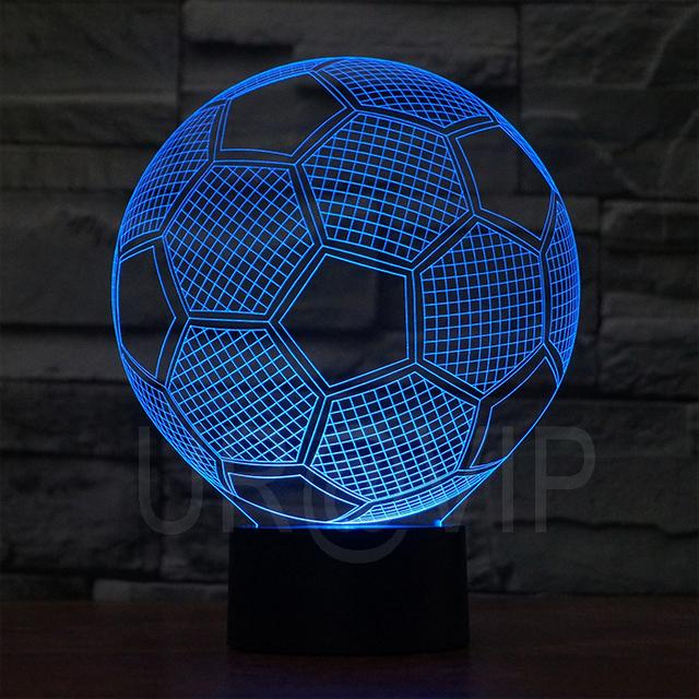 5 v 0.5 w ilusión 3D LED lámpara de noche con forma de fútbol, con 7 de luz de color 2882