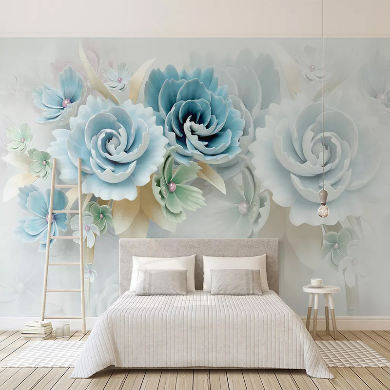 Custom Self-Adhesive Waterproof Canvas Mural Wallpaper 3D Blue Flowers Modern Home Decor Photo Wall Murals Removable 3D StickersCustom Self-Adhesive Waterproof Canvas Mural Wallpaper 3D Blue Flowers Modern Home Decor Photo Wall Murals Removable 3D Stickers
