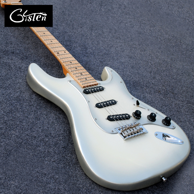 New style high quality custom ST electric guitar, maple fingerboard, metal silver body ST electric guitar, free shipping