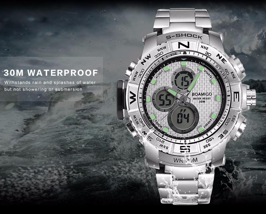 BOAMIGO Fashion Sport Man Watches Stainless Steel LED Digital Watch Analog Quartz Movement Waterproof Dual Display Wristwatches (3)
