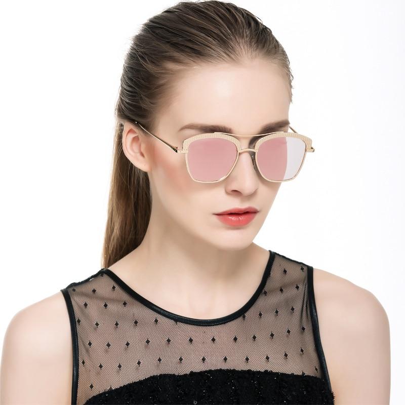 f4285a1a5 العلامة التجارية مصمم الذهب المعادن مربع إطار التدرج اللون الوردي النظارات  الشمسية طيار نظارات شمسية للمرأة Oculos دي سول Feminino