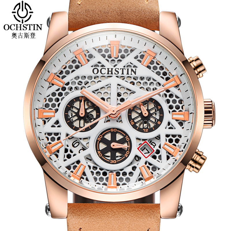 OCHSTIN Sport Mens Watches Top Brand Luxury Skeleton Watch Men Leather Strap Quartz Wrist Watch for Men Clock Erkek Kol Saati 2017 mens business watches top brand luxury chronograph watch sport quartz wrist watch men clock male relogio erkek kol saati