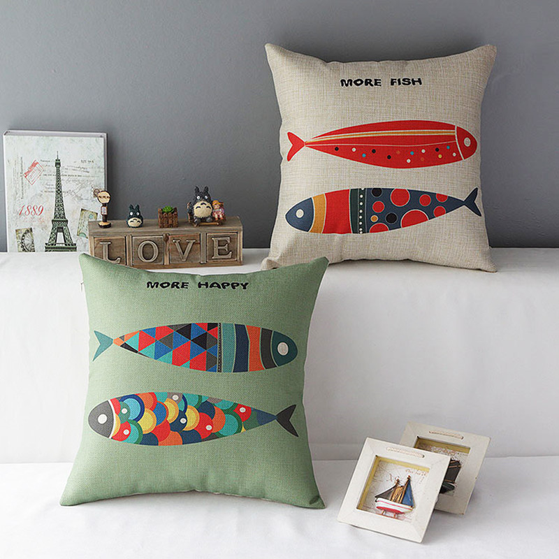 Contracted Style Personalised Fish Print Cushion Cover