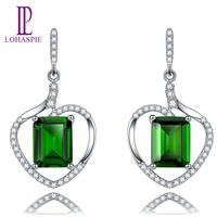 Lohaspie Solid 18K Rose Gold 3 72ct Natural Chrome Diopside Diamond Stud Earring For Women S
