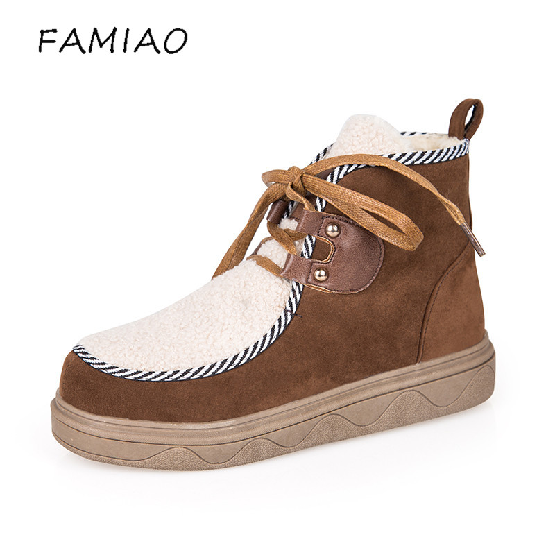 FAMIAO New Women Boots Lace up Solid Casual Ankle Boots 2017 Martin Round Toe Women Shoes winter snow boots warm british style цены онлайн