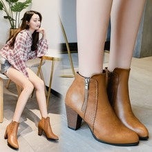 New Women Martin Boots Shoes Retro Pointed Toe Zipper 8cm Thick High Heel Solid Lady Female Booties Pumps Plus Size