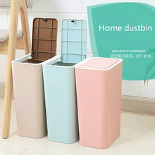 1 Pcs Creative Simple Press&Rolling Cover Type Trash Can Bathroom Kitchen Living Room Home Dust Bin Multi-color Waste Can 8L 12L