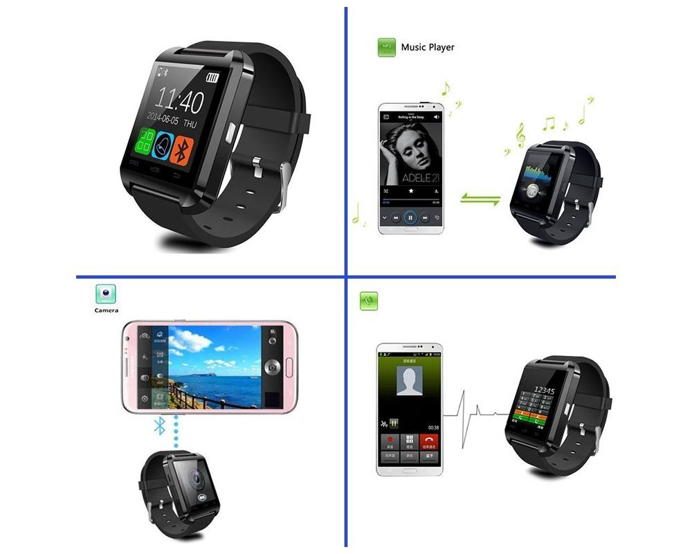 Newest Smart Watches U8 Sport Pedometer Handsfree Bluetooth Smartwatch Wristband for Android Phone Black U8 2