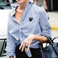 Women Striped Blouse Shirt Long Sleeve Blouse Turn Down Collar Shirt Casual Loose Tops Chemisier Femme Blusas Mujer de Moda 2019