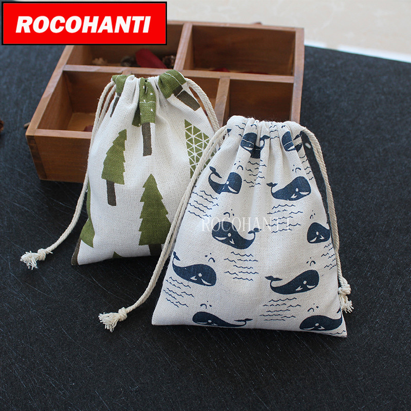Childrens cartoon tree whale design cotton cloth linen bag drawstring clothes toy storage bag shopping bag small pouch