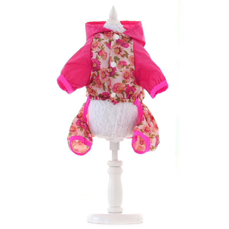 Waterproof Dog Raincoat Warm Floral Pattern Pet Hooded Rain Coat Jacket Puppy Cat Clothes For Small Medium Dogs DOGGYZSTYLE