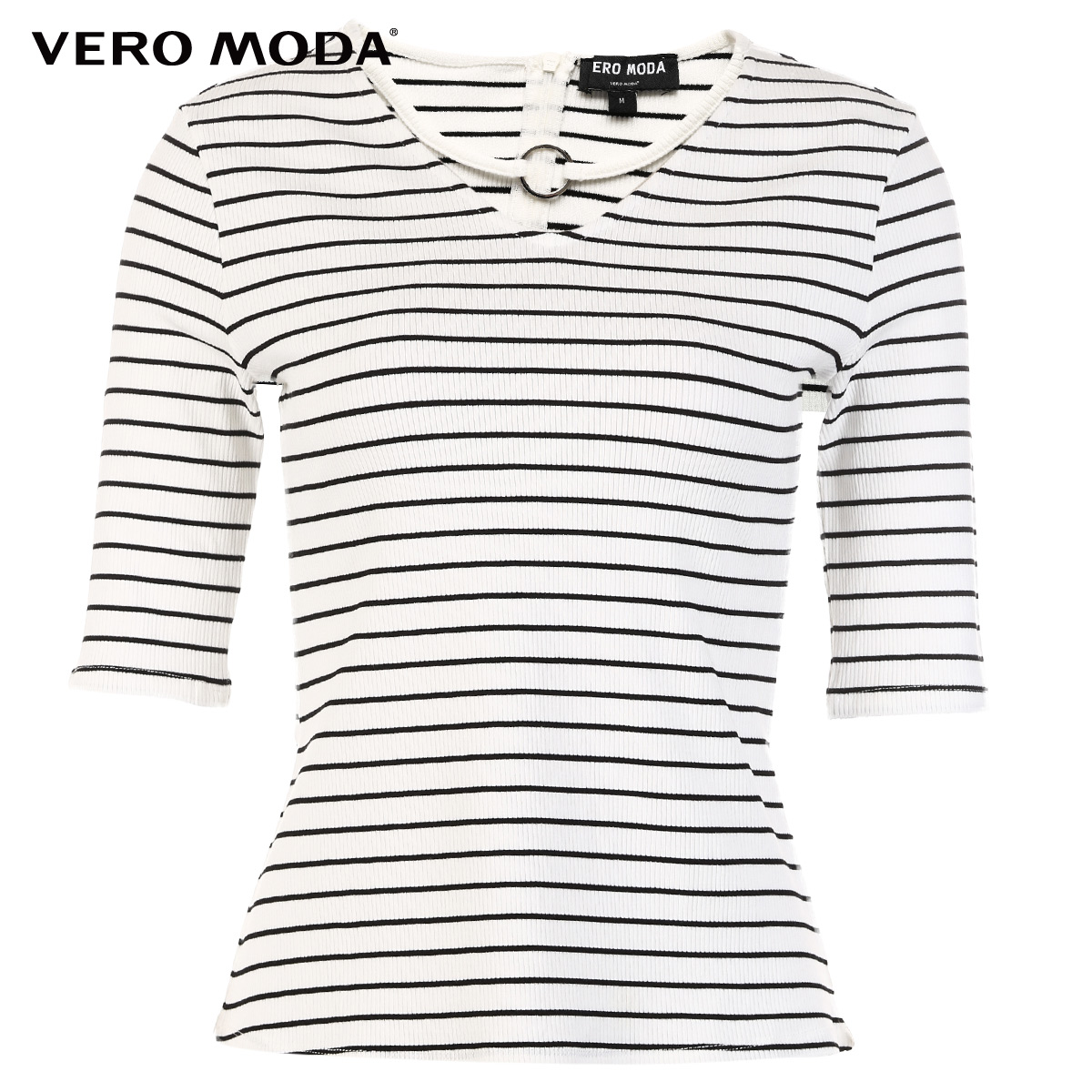 Vero Moda 2019 new neckline ring decorative stripe pattern half-sleeve sleeve T-shirt|3182T1513