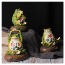 Cute Creative Yoga Frogs Statue Decorative Sitting Frog Outd