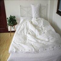 Кружево промывают Белый лен Постельное белье Queen Лен Набор пододеяльников для пуховых одеял комплект кровать Простыни Набор белья Простыни
