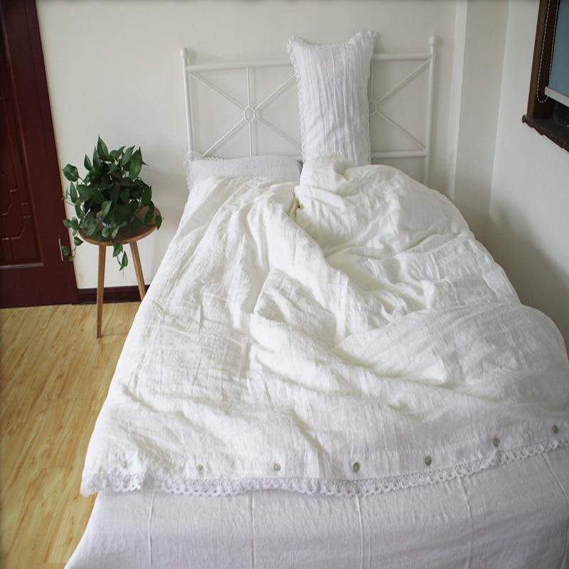 Lace Washed White Linen Bedding Set Queen Linen Duvet Cover Set Bed Sheet Set Linen sheets Lace Duvet Covers Pillow case4pcs