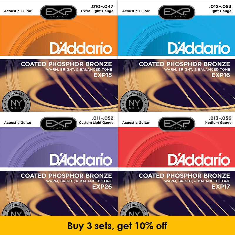 D'addario EXP Coated Phosphor Bronze Round Wound Acoustic Guitar Strings, EXP15 EXP16 EXP17 EXP26