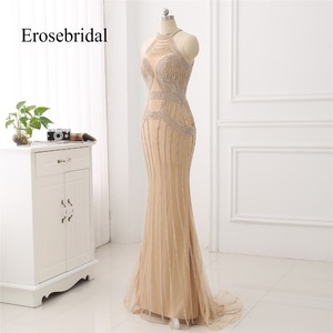 Image 2 - Elegant Long Evening Dress 2019 New Mermaid Beading Evening Gown Halter Color robe de soiree In Stock 48 Hour Shipping ZC6 2