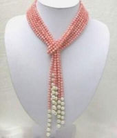 50 inch 3mm Pink Coral Freshwater Pearl Necklace AAA>>>women jewerly