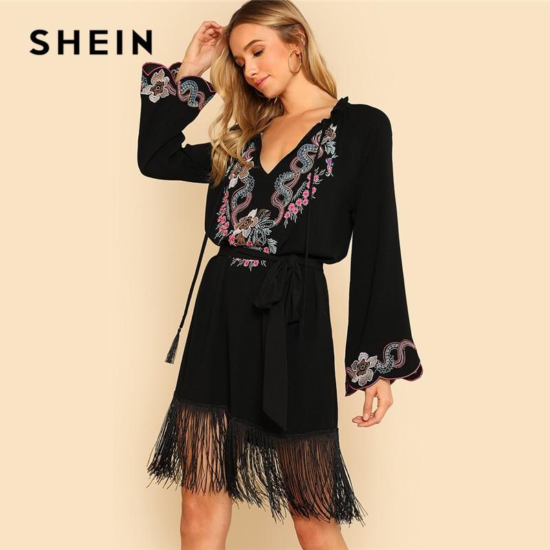 SHEIN Embroidered Yoke Fringe Hem Tunic Dress without Belt 2018 V Neck Long Flounce Sleeve Black Dress Women Vacation Dress embroidered sleeve denim tunic dress