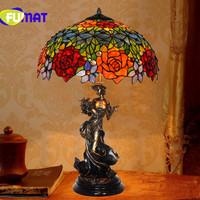 FUMAT Virgin Bronze Art Antique Collection Table Lamp European Retro Rose Stained Glass Bedroom Living Room Decoration Creative