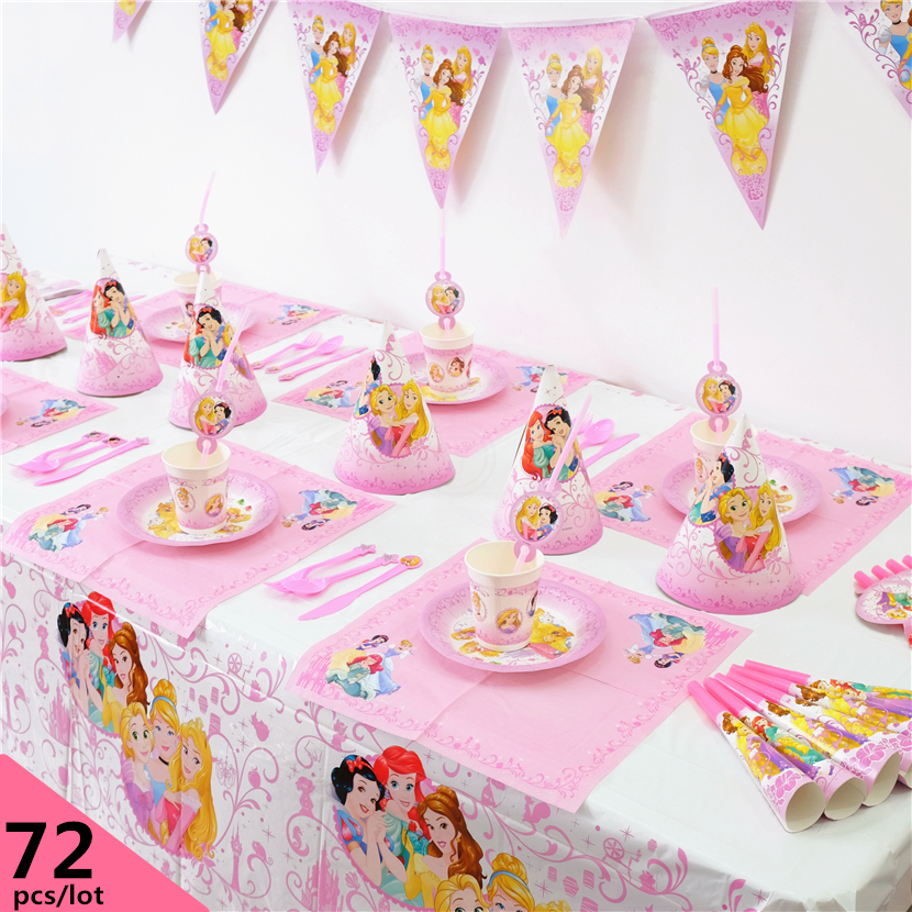 72pcs Luxury Disney <font><b>Princess</b></font> Cinderella Mermaid Bell Sleeping Beauty Tangled Kids Birthday <font><b>Party</b></font> Decoration Set <font><b>Party</b></font> Supplies image