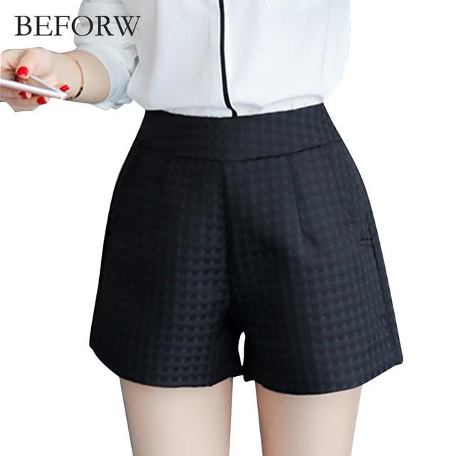 BEFORW Women Fashion High Waist Shorts Womens Big Size Wild Lattice Black White Shorts 2017 Summer Casual Loose Ruffle Shorts