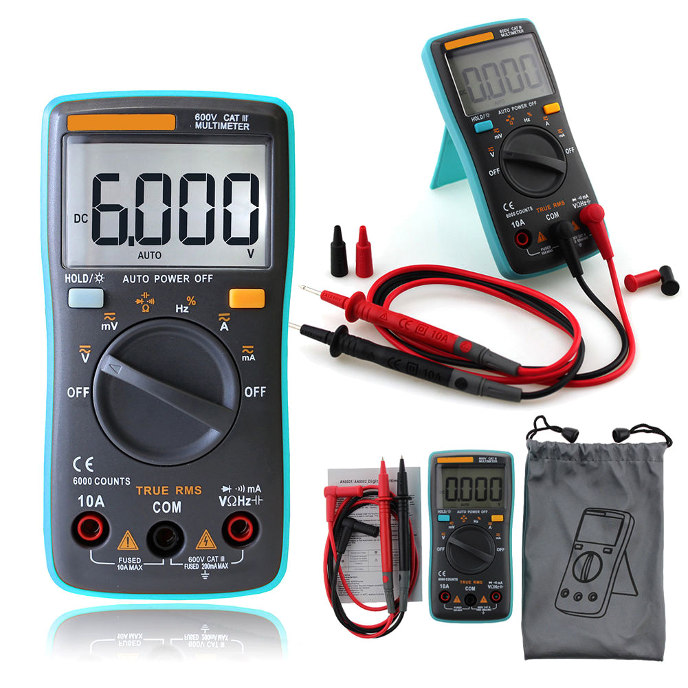 Portable Digital LED Multimeter Backlight AC DC OHM Volt Tester Ammeter Voltmeter Test Current ALI88 unit ut 61e ut61e digital handheld multimeter tester dmm ac dc volt ohm frq