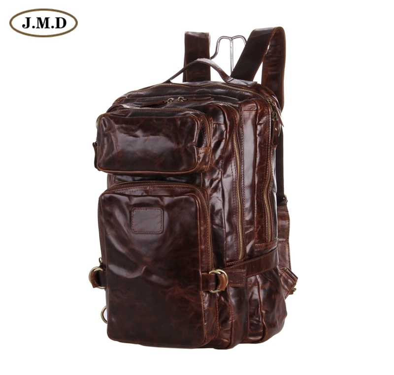 7048q J.m.d Large Capacity Real Leather Mens Brown Backpack For Travelling Invigorating Blood Circulation And Stopping Pains Luggage & Bags Backpacks