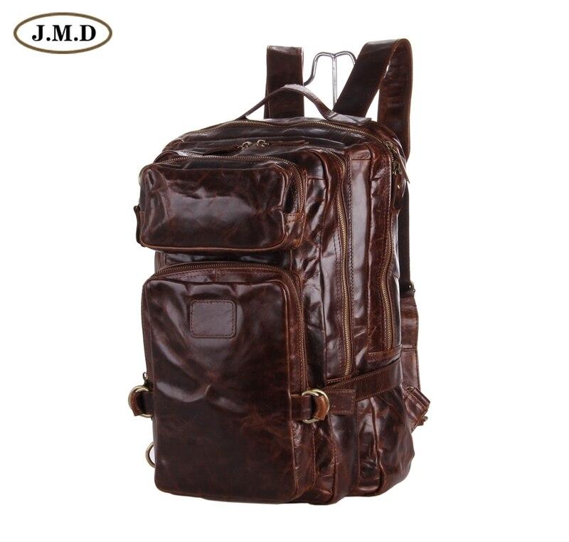 J.M.D мужской кожаный рюкзак большой емкости из натуральной кожи школьный коричневый рюкзак для ноутбука для путешествий 7039Q