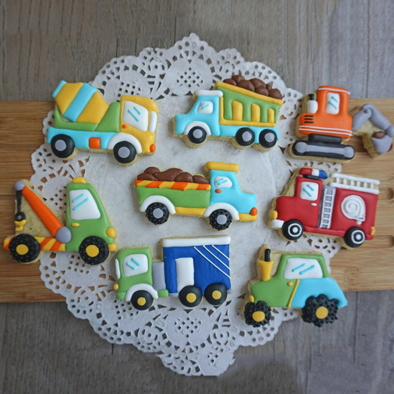 Voertuig Machines Truck Vorm Cookies Fondant Mallen Mixer Kraan Auto Brandweerwagen Koekjes Snijders Mallen Diy Cake Decoratie Tool