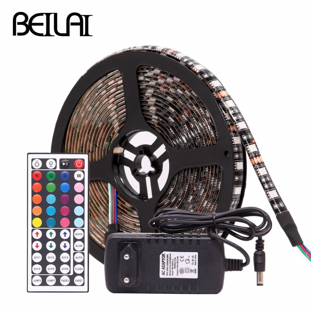 RGB LED Strip Waterproof 5050 Black PCB DC 12V LED Light Strip 60LED/M Flexible Neon Tape With Power and WIFI RF IR Controller free shipping handmade custom made skirt 2 jewelry doll clothes for blythe fr licca azone doll accessories toys gift