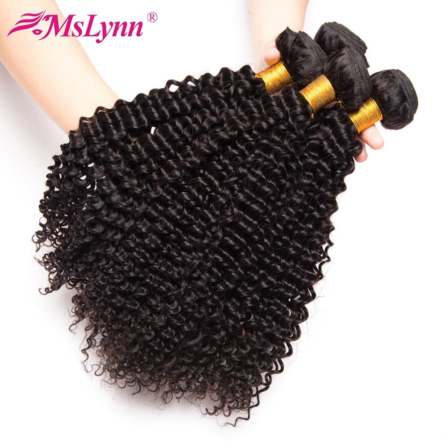 Mslynn Kinky Curly Hair 3 Bundle Deals Peruvian Hair Weave Bundles Human Hair Extensions Non Remy Hair Natural Black 8-28 Inch