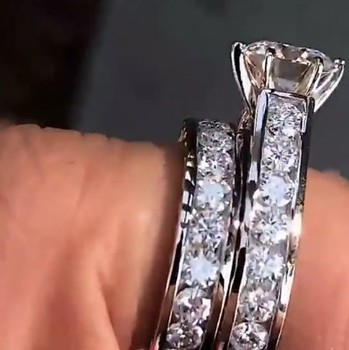 Hot Sale Bling Zircon Stone 925 Sterling Silver Ring Set Wedding Engagement Jewelry 1