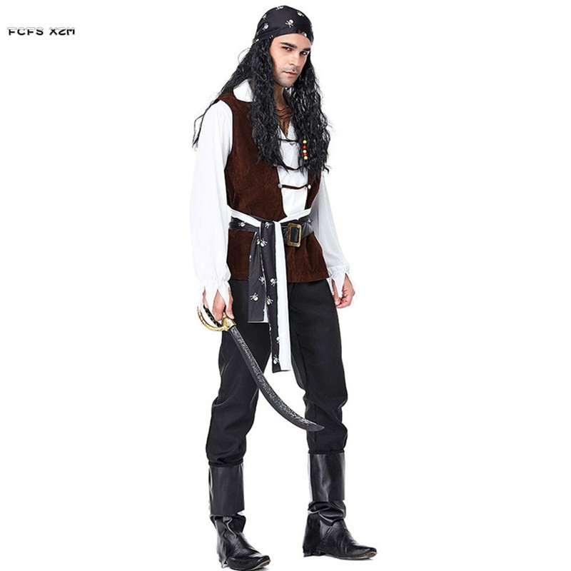 M-XL Men Robber Pirate Cosplays Halloween Warrior Costumes Carnival Purim parade Masquerade Stage play Nightclub Bar party dress