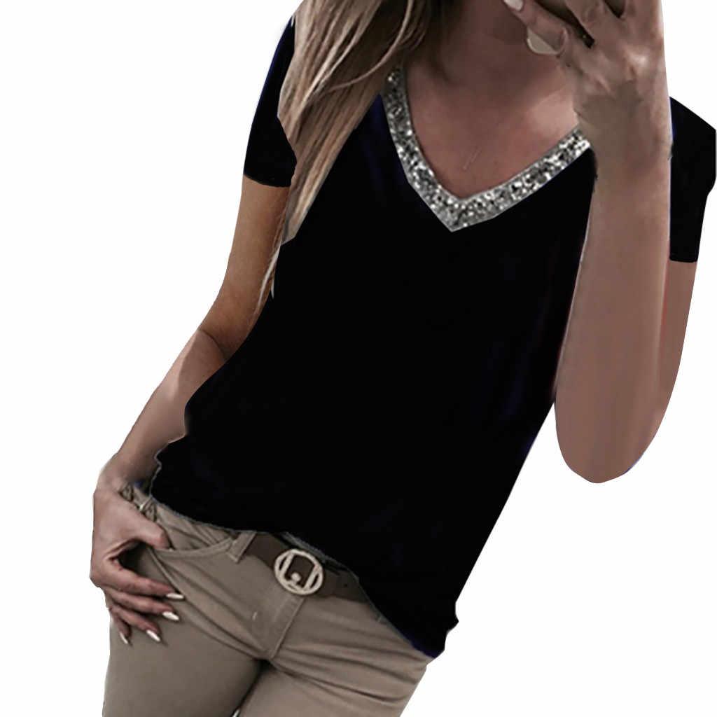 Sequins Summer 2019 T Shirt Women Streetwear Casual Sexy Short Sleeve V-Neck Tshirt Women Vetement Femme 2019