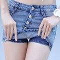 Verano 2017 Nueva Moda Pantalones Cortos Skort Denim Estilo Coreano Plus tamaño S-3XL de Las Mujeres Skorts Falda Sli Sexy Mujer Vaqueros Cortos Feminino