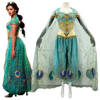 2019 New Movie Aladdin Jasmine Princess Cosplay Costume For Adult Women Girls Kids Halloween Party Costume Custom Made