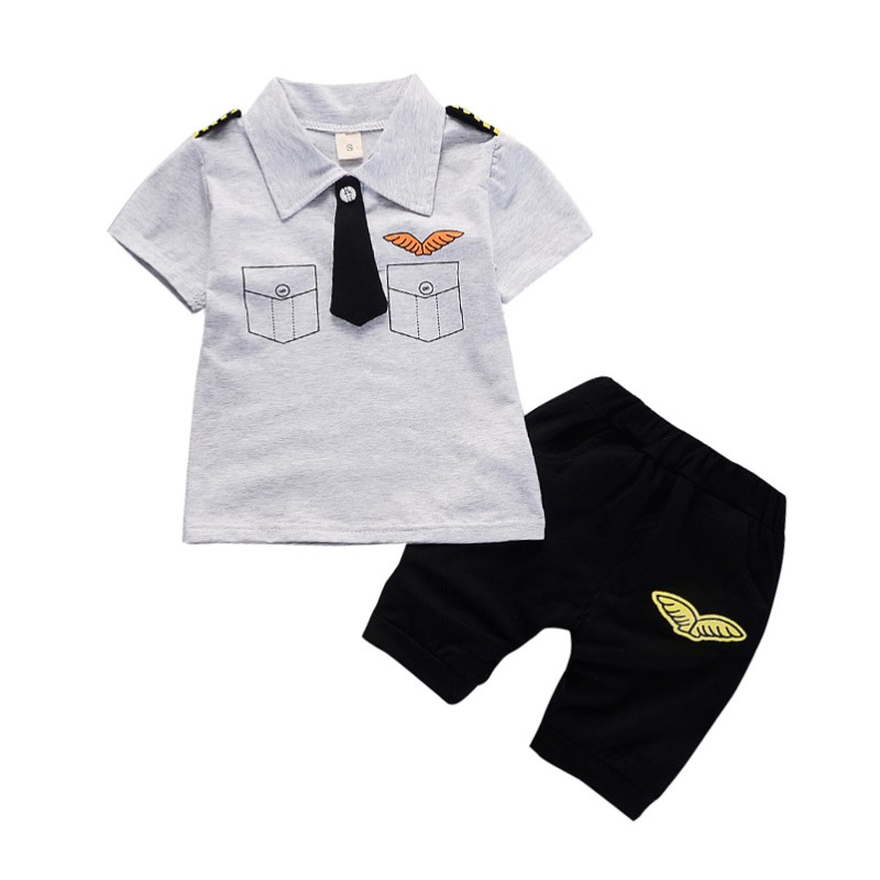 Baby Clothes Suits Children Baby Boys Summer Clothing Sets Cotton Kids Tie Gentleman Outfits Child short sleeve tops t shirt summer kids baby boys gentleman suit white short sleeve polo shirt suspender trousers outfits fashion kids wedding clothing
