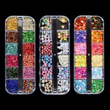 Nail Art Decorations 1 Box AB Rhinestones For Nails Japanese Charm Rhombus Sequins New Arrive Strass Accessoires