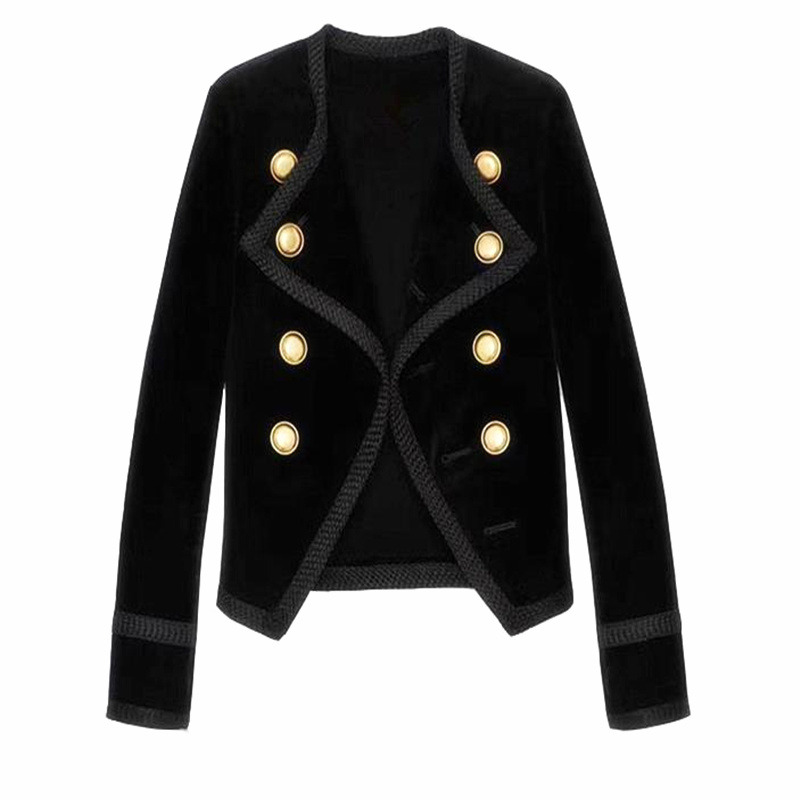 High Quality 2019 Autumn Winter New Fashion Gold Velvet Double Breasted Short Blazera Coats Black Female Jackets Gx900